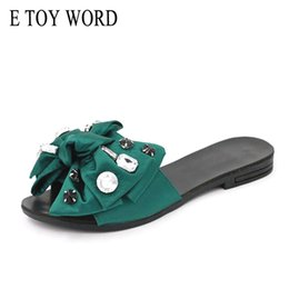toy slides Coupons - E TOY WORD 2018 Beach Solid Slides Fashion Women Shoes Summer Sweet Rhinestone Butterfly-knot Flat Open Toe Women Slippers