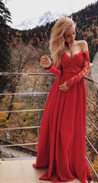 arte sexy calda della ragazza Sconti Vendita calda Prom Abiti da sera lunghi 2019 Pizzo Off the spalla con maniche lunghe in chiffon Convenzionale abito da festa per ragazze Prom