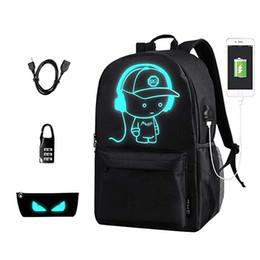mochilas de porcelana Rebajas Mochila luminosa de dibujos animados de anime con puerto de carga USB y estuche antirrobo Estuche para lápices Mochila escolar de moda Mochila para portátil de viaje