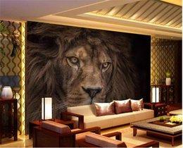 chinesische wandschnitzereien Rabatt Wandpapier der Wand-3d wandert HD mächtige wilde Tier-Löwe-Wohnzimmer-Schlafzimmer-Hintergrund-Wand-Dekoration-Wandbild-Tapete