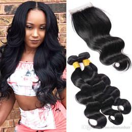 2019 estilos de tejido de pelo indio Body Wave Weave Hair Styles 3 paquetes con cierre sin procesar Remy Human Hair Weave brasileño indio peruano malasio parte libre estilos de tejido de pelo indio baratos