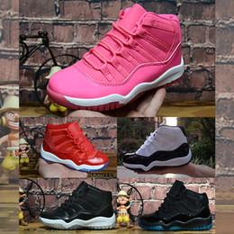 дети белые теннисные туфли Скидка Nike Air Jordan 11 Маленькие дети 11s баскетбольные кроссовки ретро j11 волк серый синий черный белый золото Concords мальчики девочки Jumpman 11 XI спортивные кроссовки теннис