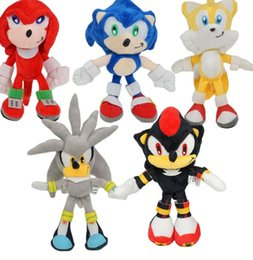 Brinquedo macio sônico on-line-5 pçs / set 23 cm Nova Chegada Sonic Plush O Ouriço Sonic Sack Stuffed Toy Boneca Presente Frete Grátis