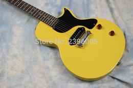 2019 12-строчная левая рука ot продажа студия электрогитара желтый цвет P90 пикапы One piece хвост мост красное дерево тело высокое качество реальная гитара фото
