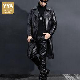 c44a4c47d64 2019 abrigo de cuero negro largo Trench Coat de los hombres de cuero genuino  Slim Fit