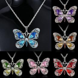 Papillon à longue chaîne en Ligne-Mode Femmes Papillon Pendentif Longue Chaîne Collier Collier Femme Bijoux Émail Cristal Animal Colliers pour Femmes