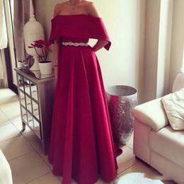 Cinto de cetim vermelho longo on-line-Vermelho longo vestidos de noite 2019 uma linha de cetim com cinto vestido formal mulheres vestidos de fiesta vestido formatura custom made