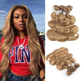 Extensiones de cabello humano negro de las mujeres online-# 27 Honey Blonde Hair Weave Bundles Cabello brasileño de onda corporal para mujeres negras 3 o 4 paquetes de extensiones de cabello humano Remy de 16-24 pulgadas