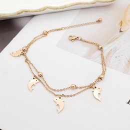 cute bracelet korean fashion Coupons - Korean Fashion Cute High Quality double-deck Titanium Steel Dolphin Anklets For Women Rose Gold foot chain ankle bracelet