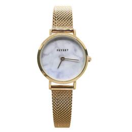 FEYERT 2019 Dama de las mujeres de moda Fashion Marble Dial Caja de oro rosa Japón Cuarzo de acero inoxidable Malla cadena Correa reloj de pulsera FE-0050 desde fabricantes