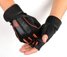 Atacadores grossos de pulso de ginástica on-line-Atacado-Levantamento De Peso Ginásio Luvas Workout Wrap Envoltório Esportes Treinamento de Fitness Aptidão Meio Dedo Pulso Deslizamento Luvas de Esportes