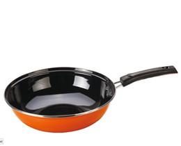 cottura in ghisa Sconti Commercio all'ingrosso della fabbrica dello smalto del wok nessun rivestimento nessun vapori wok antiaderente wok all'ingrosso sano