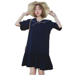 Estilo de muy buen gusto Mujer Vestido de verano Mujer Sailor Collar Arco Nudo Diseño Vestidos Mujeres Azul Suelta camisa de gran tamaño vestido 4XL 3XL desde fabricantes