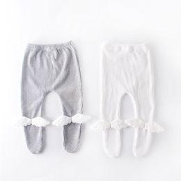 anjos caídos Desconto INS menina roupas calças leggings cor sólida calças Com Asa de Anjo projeto menina primavera outono calças