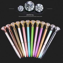 Penna a sfera con gemme creative in vetro cristallo kawaii con grande diamante per la scuola da occhiali coreani fornitori