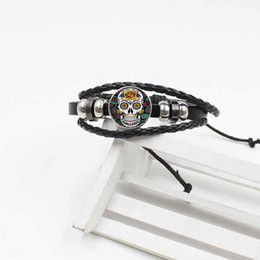 Mexikanische lederarmbänder online-Beliebte Mode klassischen mexikanischen Schädel Armband Kristallglas gewebt Leder Herrenschmuck
