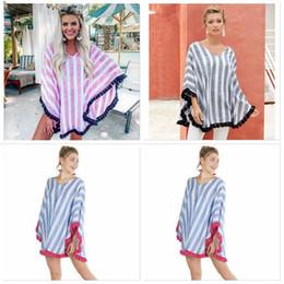 2019 padrões de roupas de maternidade Mulheres Designer Clothes mulheres listrada V-Neck Manto Tops Moda borla xale Casual Tees Maternidade mulheres roupas de verão T-shirt Hot EZYQ520