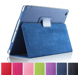 Precios de ipad online-Precio de fábrica para iPad Pro 9.7 10.5 Litchi Funda elegante de cuero plegable plegable en folio para iPad Air 2 Mini 2 3 4