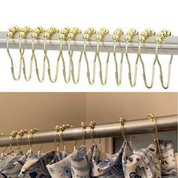 Anéis de cortina on-line-12 Pçs / set Elegante Ouro Cortina de Chuveiro Ganchos Bola Rolando Anéis Resistente À Ferrugem Cortina de Chuveiro Ganchos Casa de Banho Essencial Gancho