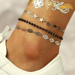 pendentif pieds d'argent Promotion 3 Pcs / set Nouvelle Mode Plage Argent Pied Cheville Pour Femmes Perles Étoiles Feuille Pendentif Chaîne Bracelets À La Cheville pour Femmes
