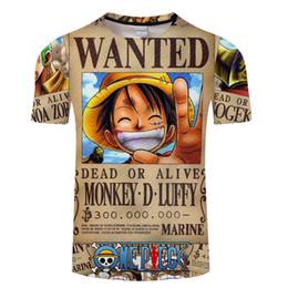 2019 ropa de adolescentes One Piece Camisetas para hombre Impresión 3D O-cuello de manga corta Tops Adolescentes Diseñador Verano Tees Moda Ropa masculina rebajas ropa de adolescentes