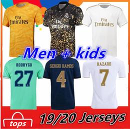 2019 valencia casa cf Real Madrid Homens + crianças camisas de futebol 2019 2020 PERIGO DE RAMOS BENZEMA Rodrygo camisas camiseta de futebol Tops Goleiro Kit Maillot Maglia