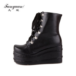 Готические женщины обувь онлайн-Fanyuan Mujer Fashion Platform Shoes Women Punk Black Gothic Ankle Boots Womens Platform Wedge Lace up Motorcycle Boots