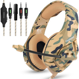fone de ouvido bluetooth oppo Desconto ONIKUMA K1 PS4 jogos fones Gaming Headset com fios PC Stereo fones de ouvido Fones de ouvido com microfone para New Xbox One / Laptop Tablet Gamer