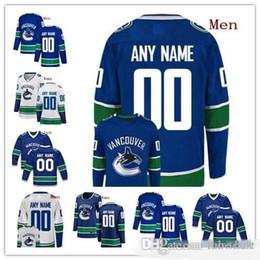 billige authentische nhl hockey trikots Rabatt Customized Vancouver Canucks 2019 NEU Blau Third Jersey 50TH Gewohnheit irgendeine Männer Nummer Name Frauen Jugend Kind Weiß Schwarz Boeser Pettersson 4XL