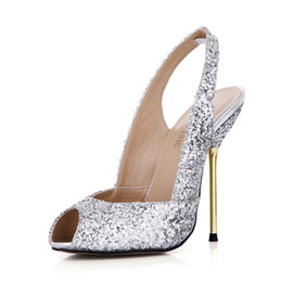 Pompe di glitter sexy online-CHMILE CHAU Sexy Glitter Bridal Party Peep Toe Slingback Stiletto Iron Heel Women Pumps Escarpins Femmes Bout Ouvert Bride Arriere 3845-g1