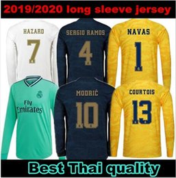 maillot thailandais à manches longues Promotion 2019 2020 Real madrid LONG SLEEVE thaïlande QUALITÉ Jersey de football KROOS Home blanc 2019 RAMOS ISCO MODRIC maillots Ninos 19 20 uniformes