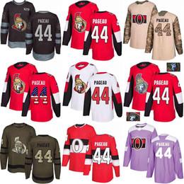 Argentina Custom S-XXXL Hombres Mujeres Jóvenes 2018 Senadores de Ottawa 44 Jean-Gabriel Pageau Ejército Blanco Rojo Verde Negro 100 camisetas de hockey de camuflaje Suministro