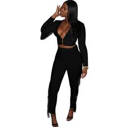 Printemps noir tenues femmes en Ligne-Blanc / noir Deux Pièces Ensemble Femme 2019 Nouveau Printemps Gland À Manches Longues Crop Top Crayon Haut Et Pantalon Costumes Survêtement Survêtement Outfit