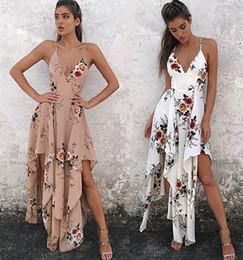 мода богемный лето сексуальная глубокий v шеи длинные макси платье цветочный принт повседневная свободные рукавов элегантный бохо пляж платье белый женская одежда от
