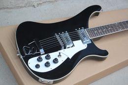 gitarren-saitenhalter Rabatt Hochwertige schwarze E-Gitarre mit 6 Saiten, R-Saitenhalter, Dots Fret Inlay, Chrom-Hardware, weißem Schlagbrett, 5 Knöpfen