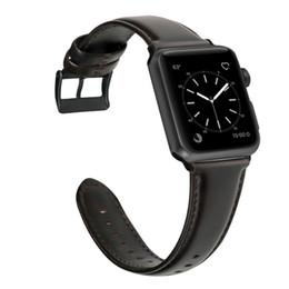 Pulsera encerada online-Pulsera de cuero de cera de aceite para Apple Watch Band 42 mm 38 mm / 44 mm 40 mm Serie 4 3 2 para correa de reloj Apple iWatch correa de reloj
