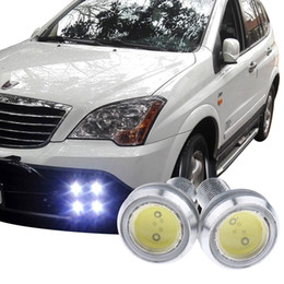 waterproof eagle eye Promo Codes - 10pcs Super Brightness Eagle Eye LED 23mm Silver Shell Running Lights Working Waterproof Lamp Car Styling 23