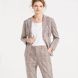eb3b5a6a289 2019 pantalones Primavera 2019 Traje de mujer A cuadros con muesca Solo  botón Cintura delgada Pantalones