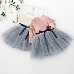 Version coréenne de robe maille couture robe filles coton motif de robe pour enfants brodé blanc rose version coréenne des enfants ? partir de fabricateur