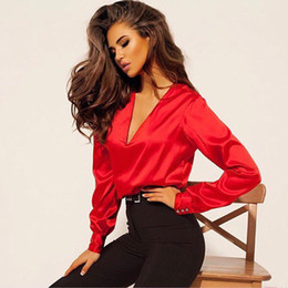 satin blouses shirts Coupons - 2018 Autumn New Fashion Women Casual Sexy Deep V-neck Satin Blouse Long Sleeve Button Office Lady Shirts New Fashion Women Tops