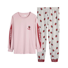 b1c31e9d2e AUTUMN PAJAMAS WOMEN S COTTON FASHION LONG SLEEVE HOME WEAR WOMEN SWEET AND  LOVELY CAN WEAR STRAWBERRY AUTUMN WINTER SUIT WINTER