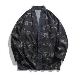 Argentina Escritura budista china Escritura Kimono Cardigan Kimono japonés Hombres chaqueta Streetwear Hombres chaqueta de mezclilla hombres DA081 cheap xl mens kimonos Suministro