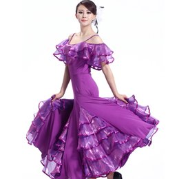 vestidos para bailes estandar Rebajas Doble-hombro vestido al por mayor de Bailes de Salón del tirante de espagueti para la mujer moderna vestidos de baile la danza del estándar de China vestido MQ209