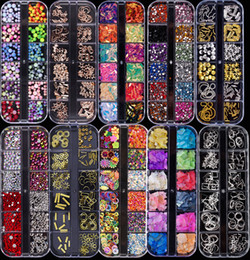 3d rivet fall online-5 Case / set Verschiedene 3D Nail Art Strass Perlen Metall Rivet Pailletten Gems DIY Fertigkeit-Schmucksache-Nagel-Kunst-Dekoration