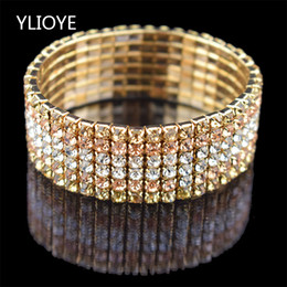 children quality bracelet Coupons - High Quality Fashion 6 Row wide Stretch Crystal Bracelets & Bangles 5 Colors Bracelets For Women Jewelry Girl child