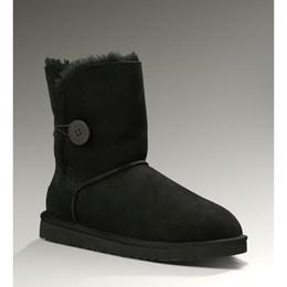 Botas de neve roxas para mulheres on-line-Sapatos de inverno ug botas de neve mulheres designer de moda clássico Botão Bow senhoras austrália ankle boots preto castanha areia cinza nvay rosa roxo