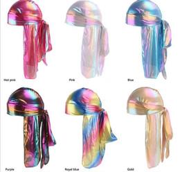 uomini della fascia del turbante Sconti Colourful Sparkly Durags Turbante Bandane da uomo Shiny serico Headwear copricapo Copricapo Copricapo Wave R303