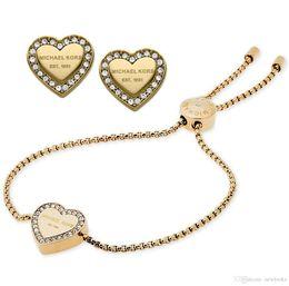 2019 splendidi set di diamanti Nuovo design oro / oro rosa 18 carati braccialetto di diamanti orecchini insieme di gioielli per le donne gioielli di moda bel matrimonio / regalo di fidanzamento nave libera sconti splendidi set di diamanti