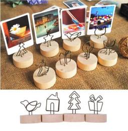 1pc Legno Naturale Delle Fotografie Porta Memo Clip Desktop Messaggio Morsetti Stand Casa Scuola Holder Desk Carta Cancelleria Organizer