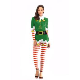Wholesale Costumi natalizi europei e americani attillati vestiti di prestazione della fase della tuta femminile della chiusura lampo delle donne all ingrosso